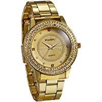 JewelryWe Luxury Mens Dress Watch, Stainless Steel Bling Rhinestones Accented Quartz Wrist Watches - Gold
