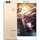 BLUBOO スマートフォン 4G-LTE MTK6737T 64ビット1.5GHzクアッドコア 5.5インチ FHD 1920*1080P 2G+16G 8MPフロント + 2MP 13MP デュアルバックカメラ 指紋認識 超薄型ボディー KKmoonスタンドつき 国内用充電器つき