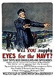 ヴィンテージ世界大戦プロパガンダポスターfeaturing a Blindfolded Ship Captainポスタープリント( 23x 33)