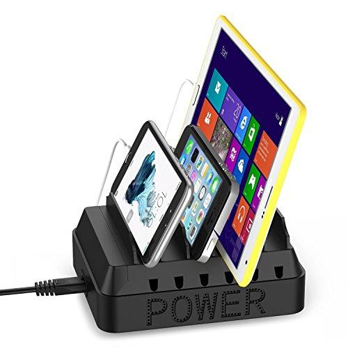 EReach 6台同時充電スタンド 6ポートUSB急速充電器 タブレット・PC・iPhone・Android・Galaxy Nexus Xperia などスマートフォン収納充電ステーション
