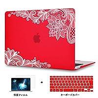 Redlai MacBook Air 13 インチ レース図案 プリントシェル 対応モデル(A1466/A1369) Air 13.3 インチ 専用シェルカバー プリントシェル 保護カバー 液晶保護フィルムと日本語キーボードカバー付き(M107 レッド)