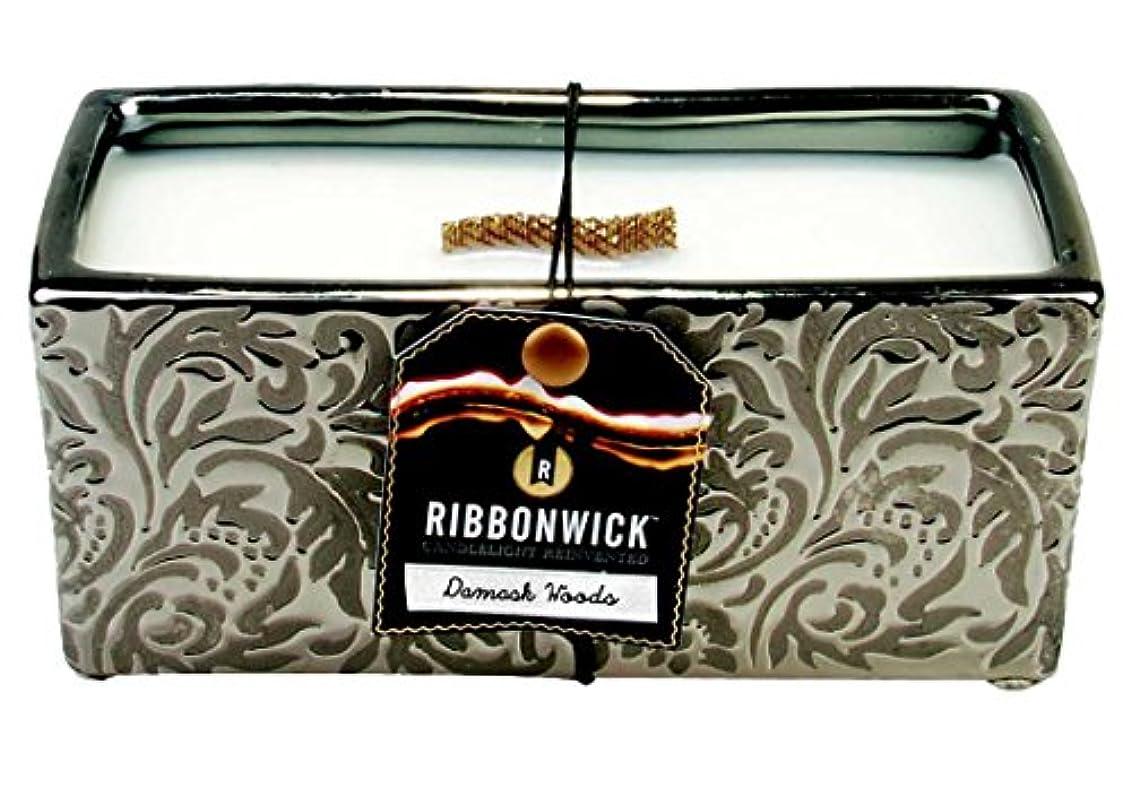 1 x RibbonWick :ダマスクWoodsコレクション – 長方形Scented Candle