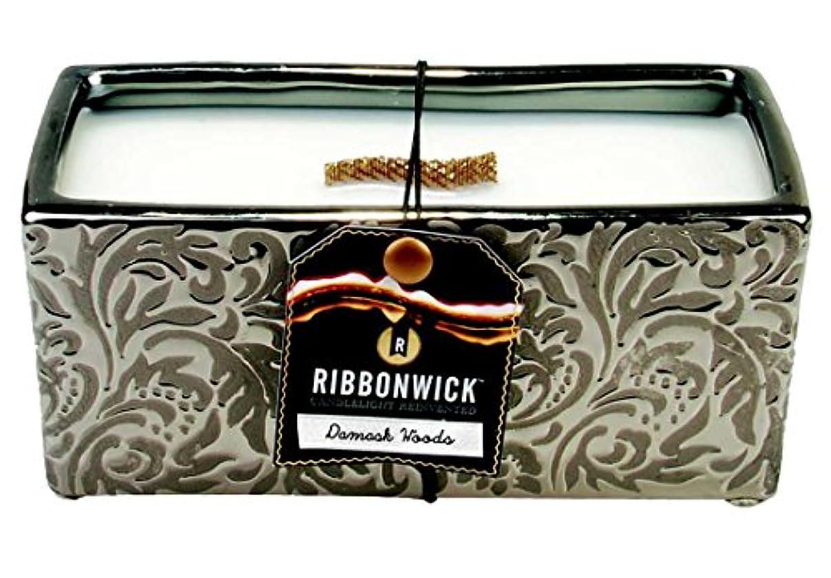 拍手する宿る主に1 x RibbonWick :ダマスクWoodsコレクション – 長方形Scented Candle