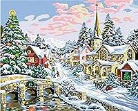 ブラシウォールクリスマスアートホームデコレーションした描画、城橋ウォール - 大人のための数字キットによってDIY油絵ペイントキャンバス40 * 50センチメートル上の数字によると色をペイント