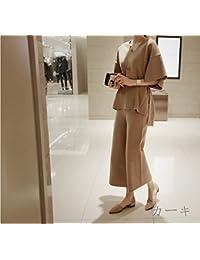 パンツスーツ ベルト付 ワイド ガウチョパンツ ニット パンツドレス ツーピース 上下セットアップ ゆったり Vネック 7分袖 10684