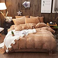 フランネル 羽毛布団カバー,1 つの作品 掛け布団カバー,ベルベット ダブル 冬ぬいぐるみプラス ベルベット掛け布団カバーの女の子の寝室-J 200*230cm