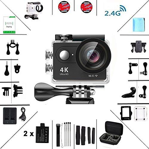 Daping カメラ 4K アクションカメラ ウェアラブルカメラ 30m防水 1080P WIFI対応 アクセサリー付けセット