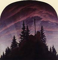 フリードリヒ・「山頂の十字架」 プリキャンバス複製画・ ギャラリーラップ仕上げ(6号サイズ)