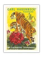 カール・ハーゲンベック 動物園 - ユニークな動物の楽園 - ハンブルク、ドイツ - ビンテージ旅行ポスター によって作成された E. アイグナー c.1952 - アートポスター - 51cm x 66cm