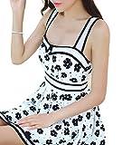 i-select お嬢様 花模様 Aライン ワンピースタイプ 水着 レディース M L XL 赤 白 黒 ハイウエスト 可愛いガーリー スカート 女の子 ...