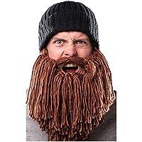 SNOWINSPRING Men Warm Wool Beanie Beard Face Mask Crochet Winter Ski Cosplay Prop Caps Hats, Black