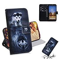 For Google Pixel 3A XL Wallet ケース, Abtory PU Leather Flip Folio Carrying Magnetic Closure Protective Shell Wallet ケース Cover for Google Pixel 3A XL with Kickstand Stand Dog