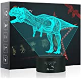 Dinosaur 3D Night Light Table Desk Lamp, Elstey 7 Colors Optical Illusion Touch Control Lights with Acrylic Flat & ABS Base & USB Cable for Christmas Gift