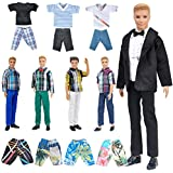 "E-TING Stylish Doll Clothes Pack, Lot 10 Items = 5 Sets Casual Clothing/Outfit with 5 Pair Shoes for 12"" Boy Doll Random Style (Casual Wear + Black Groom Suit + Swim Shorts)"