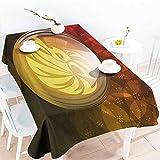 Onefzc アウトドアテーブルクロス 長方形 占星術 半透明 スノードーム 星座 レオ フローラル背景プリント パーティーデコレーション テーブルカバークロス 幅60x長さ120インチ レッド イエロー ダークグリーン