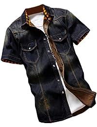 Keaac メンズカジュアルな夏のスリムフィットボタンダウンデニムドレスシャツ