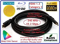 pro-techgroup 6ft ultra-speed HDMI 1.3ケーブルゴールドメッキコネクタと銀メッキワイヤ提供するPurer信号which produces優れた品質–HDMI 1.3とカテゴリ2認定、cl2定格、太い24AWG