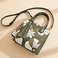 ショルダークロスボディタッセルトート第一層牛革レディースバッグ韓国版ワイルド本物の革のハンドバッグ(22 * 10 * 18CM),Green,M