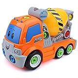 Flycreat DIY 車セット 玩具 組み立て式 知育 男の子のおもちゃ 想像力・創造力・実践力 作業車 トラック 模型 工具セット ボルトを締め付け 走行可能 カラフル 安全な塗料を採用 子供 キッズ 誕生日祝い 入園祝い クリスマスプレゼント (オレンジ(ネジネジ車セット))