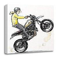"""Emvency Painting キャンバスプリント 木製フレームアートワーク 黄色 ダマスク柄 イカット オジーパターン 抽象画 幾何学的装飾 12x12インチ ホームデコレーション用ウォールアート 20"""" x 20"""" ベージュ"""