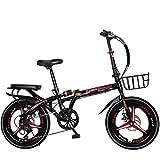 男性と女性のロードバイク 成人用折りたたみ自転車 屋外用自転車 子供用自転車家族向け自転車 成人学生用折りたたみ自転車16/20インチ (Color : Black, Size : 16inch)