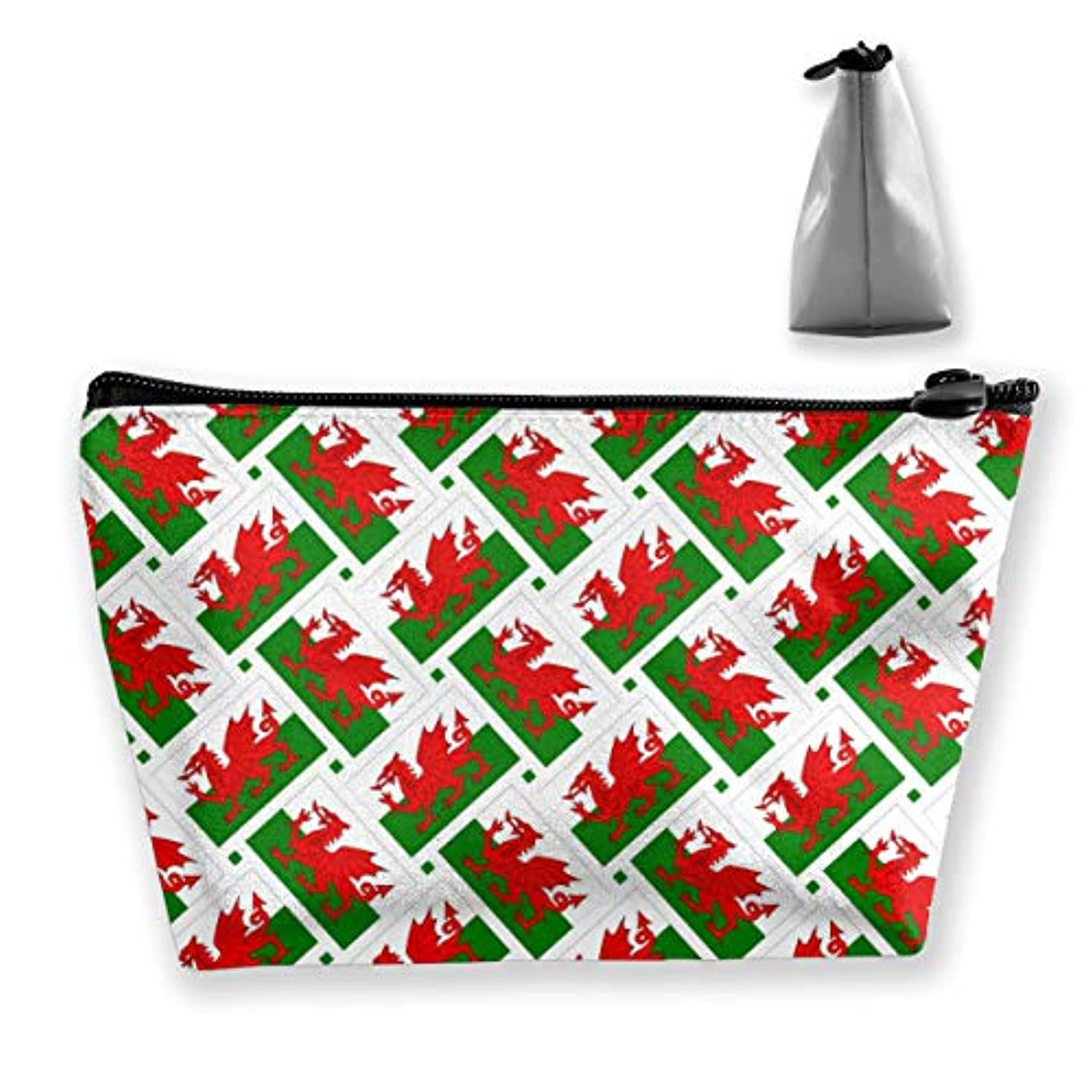 破裂クリケットジャンプウェールズの旗 化粧ポーチ メイクポーチ ミニ 財布 機能的 大容量 ポータブル 収納 小物入れ 普段使い 出張 旅行 ビーチサイド旅行