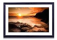 日没、海、ビーチ、岩、石、雲 - 木製の黒額縁装飾画壁画 写真ポスター 壁の芸術 (40cmx30cm)