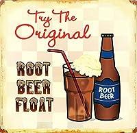Root Beer Float 金属スズヴィンテージ安全標識警告サインディスプレイボードスズサインポスター看板建設現場通りの学校のバーに適した