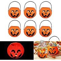 パンプキンキャンディホルダー、Niceeshop ( TM ) HalloweenハロウィーンPumpkin Lantern Candy Bucket with Handle for Party Favors jack-o-lantern、サイズS (ランダムタイプ) 6025779800457