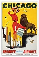 シカゴ、風が強い都市 - ブラニフ 国際気道 - ビンテージな航空会社のポスター c.1950s - アートポスター - 33cm x 48cm