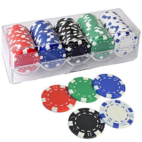 (Bihako) ポーカーチップ カジノ ポーカー チップ 麻雀 コイン 11.5g 5色 100枚 ケース付