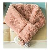 [スゴフィ]SGFY キッズマフラー ネックウォーマー スカーフ 女の子 男の子 柔らかい 暖かい 子供用 ガールズ ボーイズ カワイイ ボール付き 6色展開 (ピンク)