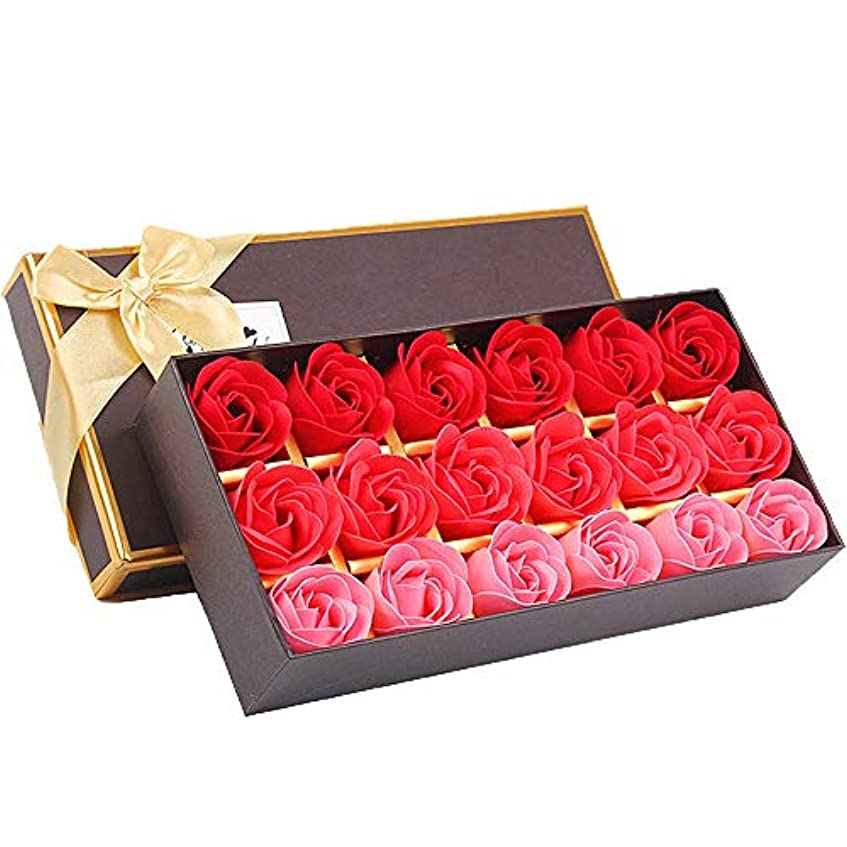 はい大学院許容できる18個の手作りのローズの香りのバスソープの花びら香りのバスソープは、ギフトボックスの花びらをバラ (色 : 赤)