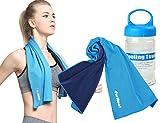 ForNeat 冷却タオル スポーツタオル 速乾タオル夏の暑さを対策に 感動的に爽やか ケースはプレゼント贈りる、持ち運ぶか便利だ!運動/水泳/ヨガ/登山/旅行に最適 (明るい青)