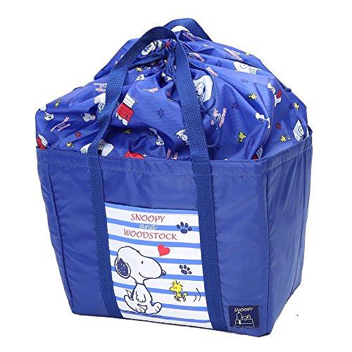 2015 版 スヌーピー ( SNOOPY ) 折り畳み 保冷 アルミ 式 レジ カゴ バッグ (ブルー柄&ミニタオル)