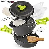 Xcellent Global Camping Cookware Set, Hiking Camping Backpacking Cook Mess 10pcs Kit , Camping Pot Pan Set Carrying with Nylon Bag CP004