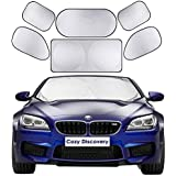 "Windshield Sun Shades [6-in-1 Full Cover Set] - Front Auto Window Sunshade Cover (59"" x 27.5"") + 5pcs Side Window Sunscreens All Around to Keep Your Car Cool - Foldable Sun Visor & UV Protector Fits Most Vehicles, Exterior Shield Guard for Car Truck SUV"