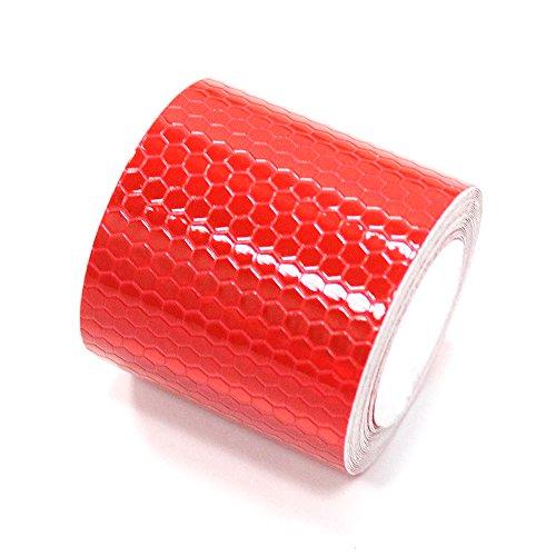 車用安全警告 赤 高輝度 反射テープ ステッカー 自己 接着ビニール ー オートバイバイク自転車トラック用 5cm*3m