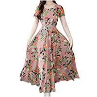 Veodhekai Women Floral Dress Elegant OL Lady Autumn Elegant O-Neck Knee Length Long Sleeve Printing Dress Wedding