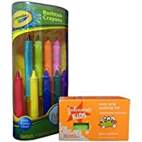Bath Fun with Crayola Bathtub Crayons and Johnson's Kids Easy-Grip Sudzing Bar Bundle. 2 Items: Crayons and Soap [並行輸入品]