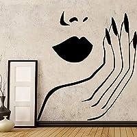 ビニールウォールステッカー女の子のための顔の唇赤い壁の装飾装飾ビニールハウスの装飾壁画部屋の寝室の壁デカール58×58センチ
