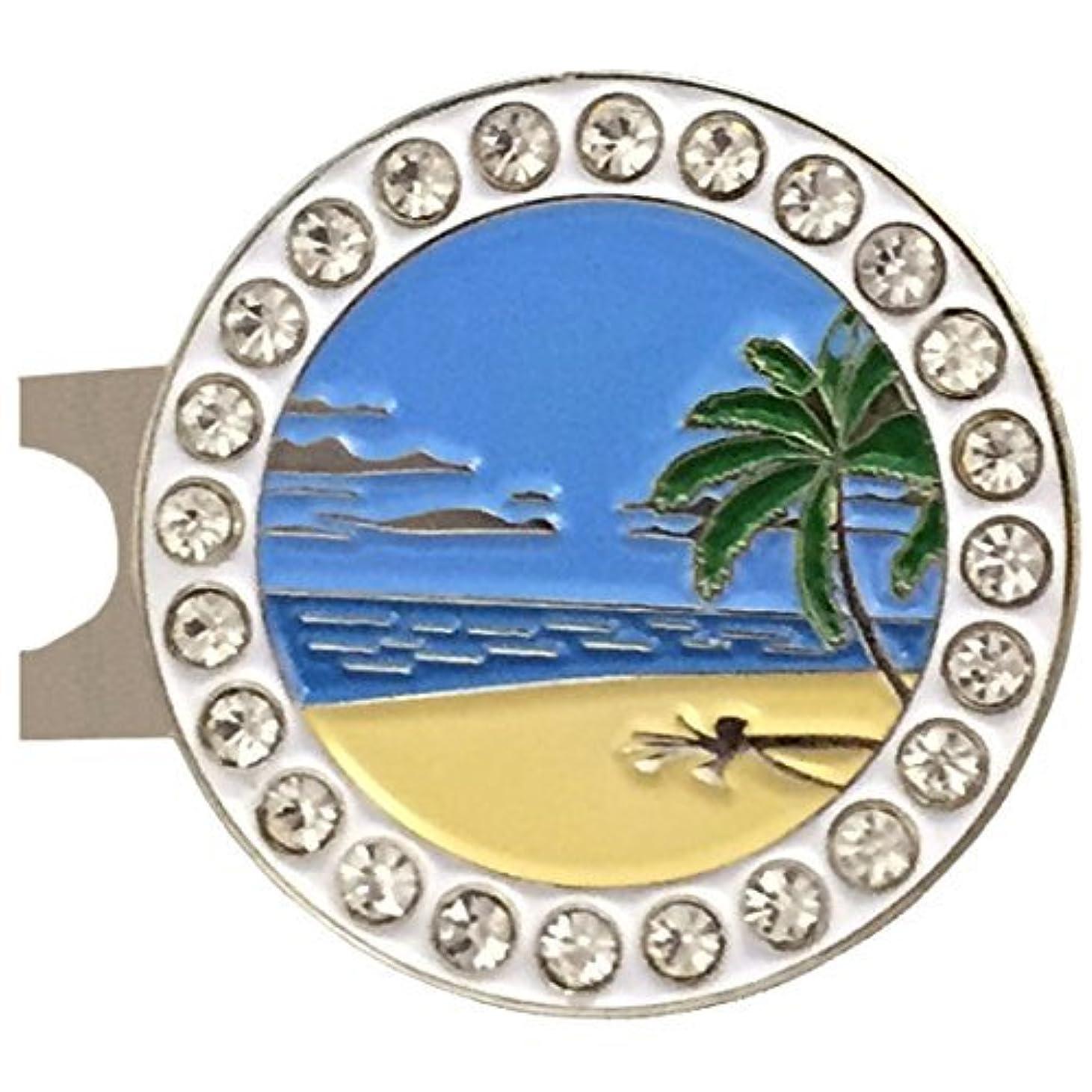 姿勢おなじみの国民GiggleゴルフBlingビーチシーンゴルフボールマーカーwith a標準帽子クリップ