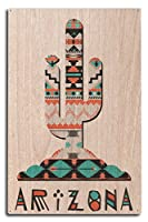 Arizona – Saguaro Cactus – Tribal Inspiredパターン 10 x 15 Wood Sign LANT-87319-10x15W