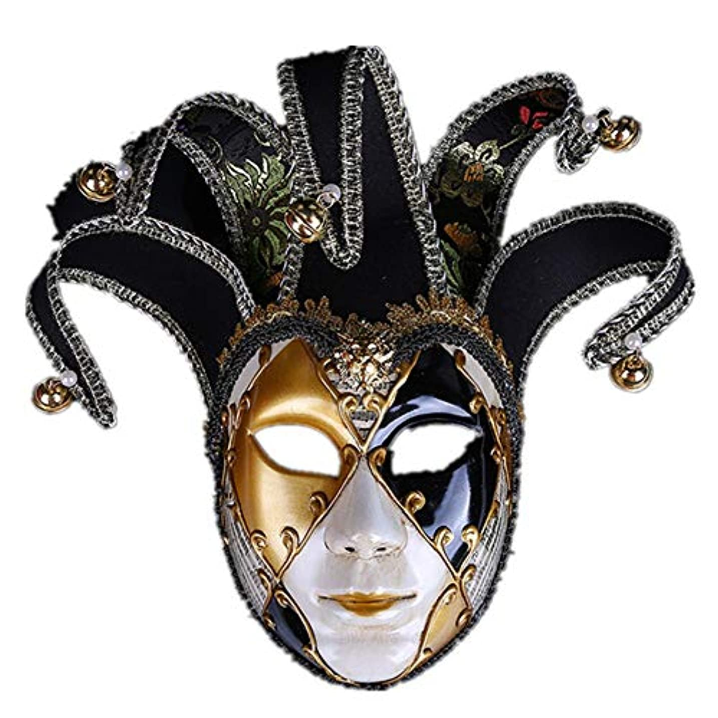 ジャングル割り当てます走るダンスマスク ハロウィーンパフォーマンスパフォーマンスマスクマスカレード雰囲気用品クリスマスホリデーパーティーボールハロウィーンカーニバル パーティーマスク (色 : ブラック, サイズ : 45x15.8cm)