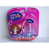Littlest Pet Shop (リトルペットショップ) Basset Dog Puppy with Carrier & Flower Clip - Exclusive # 313(並行輸入)