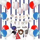 Easy Joy 野球テーマ 誕生日飾り付けセット 男の子 誕生日ガーランド フォトブーズプロップス アルミバルーン 紙提灯など ウオールステッカー 手作り装飾 インテリア 写真背景 (セット)