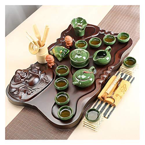 スイカゾン(Suicazon) 弥勒木製 茶盤 本格的な中国茶道 カンフー茶 茶芸 茶器 35点セット ギフト プレゼント 贈り物 04
