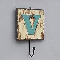 ドアコートフック、ポーチキーフック、壁コート帽子ラック、アメリカの田舎のアルファベットのフックをぶら下げ ( 色 : V )