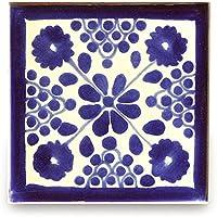 【B'stile】絵画のような壁タイル「メキシコタイル」M084-4(陶器質|100mm角|屋外壁/屋内壁用)1枚