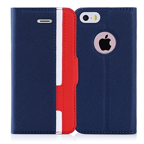 iPhone 5S ケース iPhone SE ケース iPhone5 ケース,Fyy 100%手作り 高級PUレザー ケース 手帳型 保護ケース カードポケット付き 横置きスタンド機能付き マグネット式 スマホケース スマートフォンケース iPhone SE/5S/5 対応